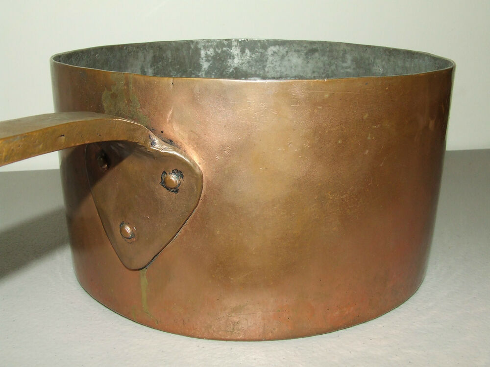 Antique th c signed brass copper cooking pot saucepan