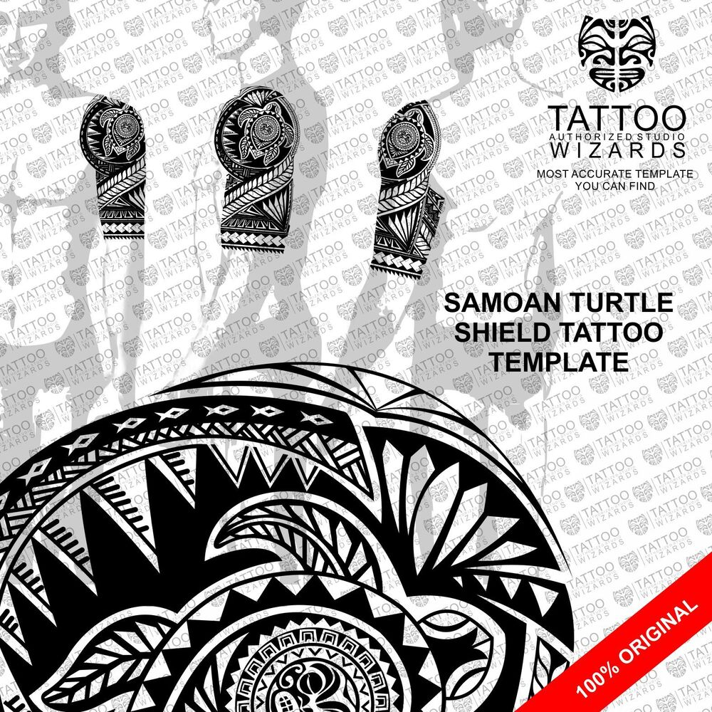 samoan maori polynesian turtle shield tattoo stencil template ebay. Black Bedroom Furniture Sets. Home Design Ideas