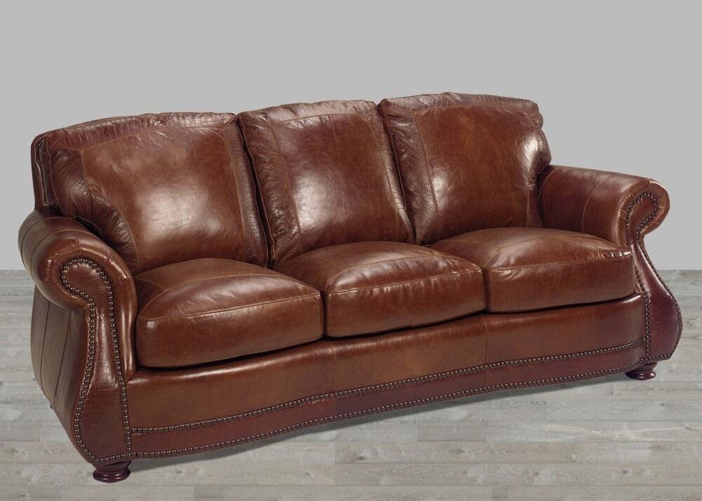 Leather Sofa 100 Top Grain Alligator Embossing Brandy