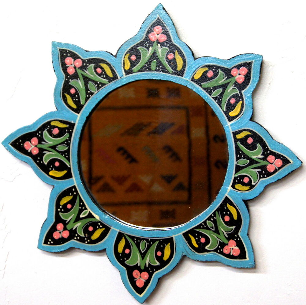 Moroccan decoration mirror wood colorful painted wall for Colorful bathroom mirrors