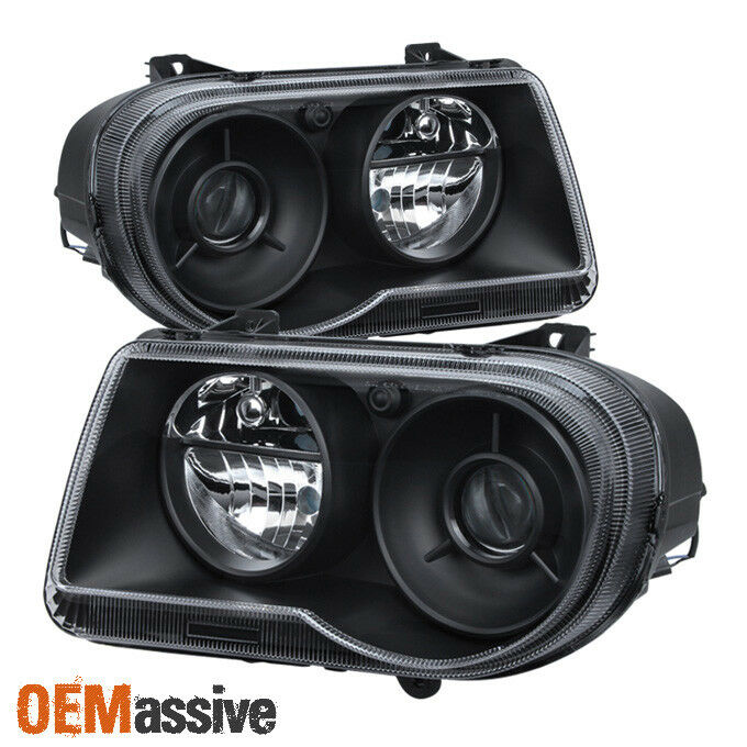 Black 2005 2006 2007 2008 2009 2010 Chrysler 300c: 2005-2010 Chrysler 300C Black Projecter Headlights Lights