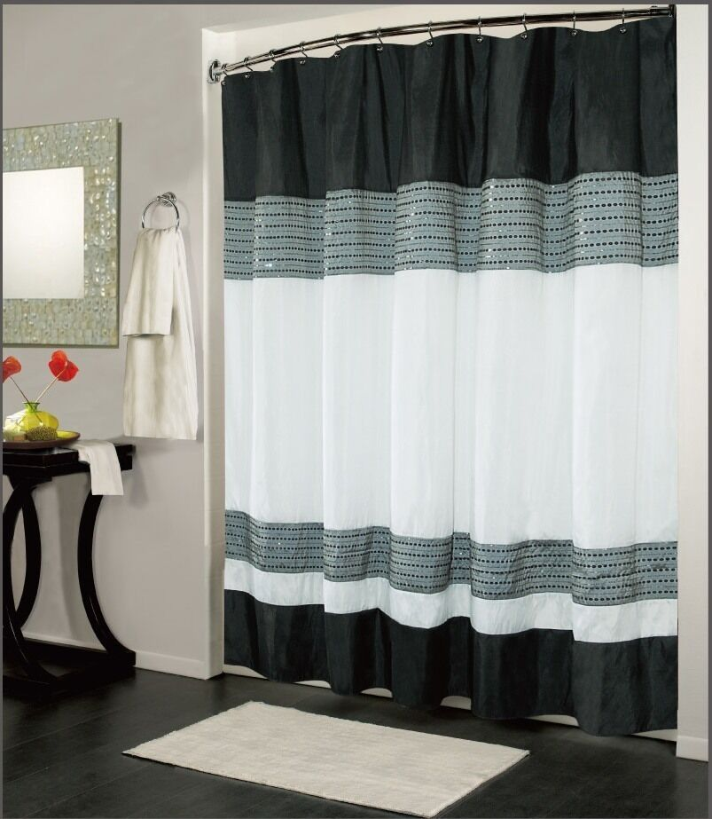 Ibiza black white luxury fabric shower curtain bathroom for Black and white bathroom sets