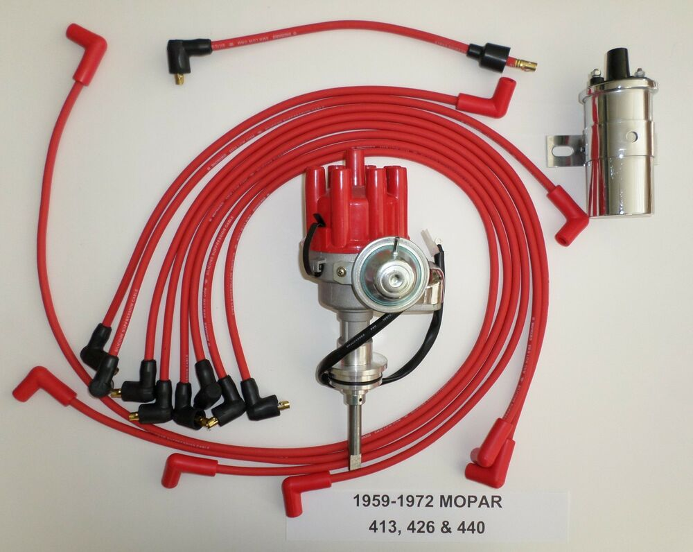 Mopar 440 59 72 Red Small Female Hei Distributor Chrome Coil Wiring In Gm Spark Plug Wires Ebay