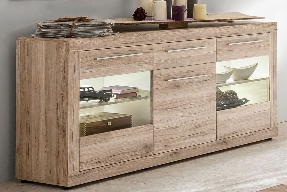 sideboard kommode sandeiche weiss woody 93 00998 ebay. Black Bedroom Furniture Sets. Home Design Ideas