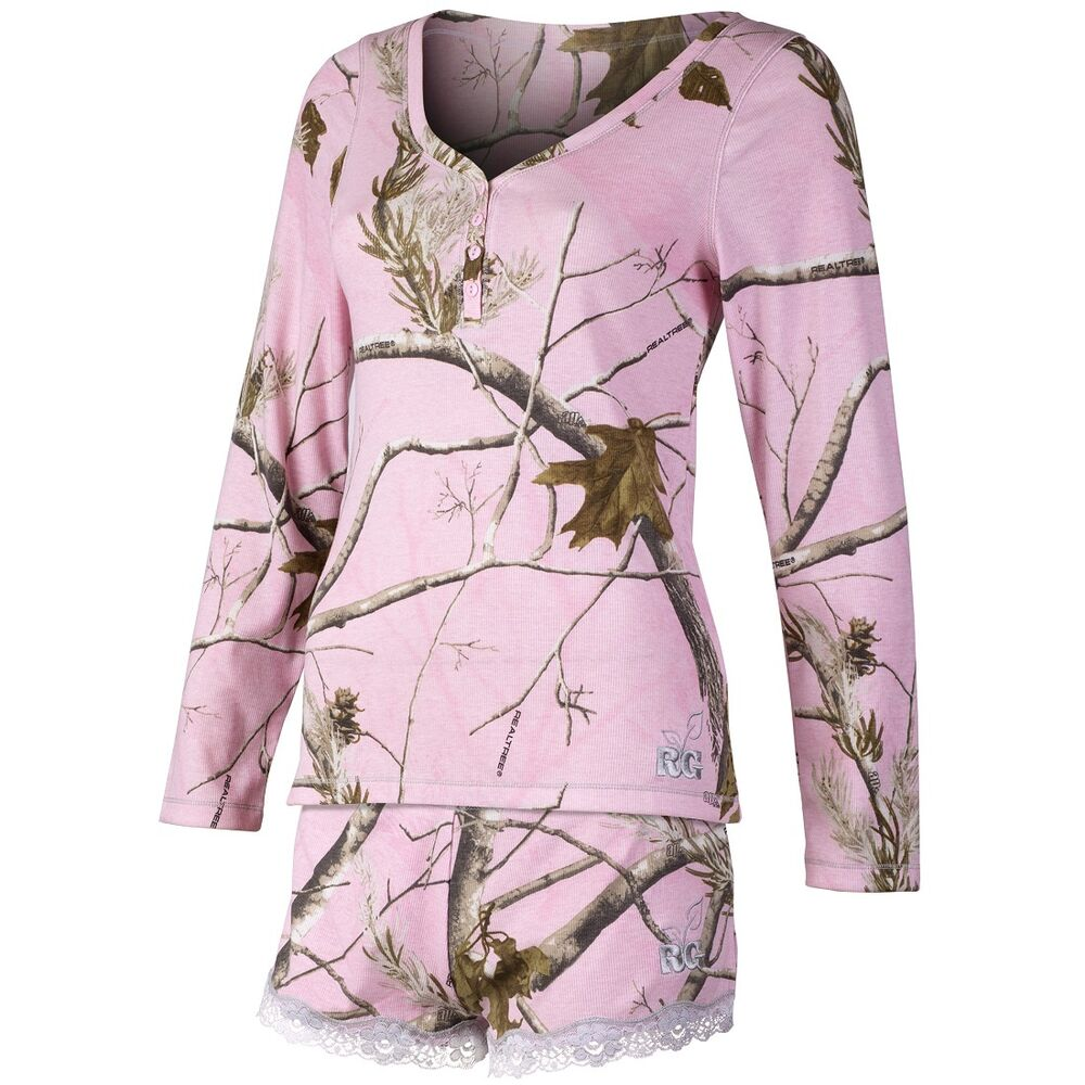 REALTREE GIRL PINK CAMOUFLAGE LADIES LOUNGE HENLEY SET ...