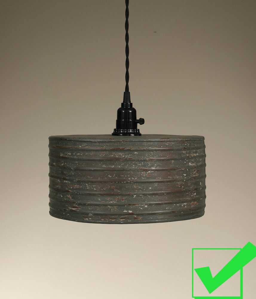 Vintage Rustic Primitive Industrial Round Metal Pendant Light Lamp Textured Gray Ebay