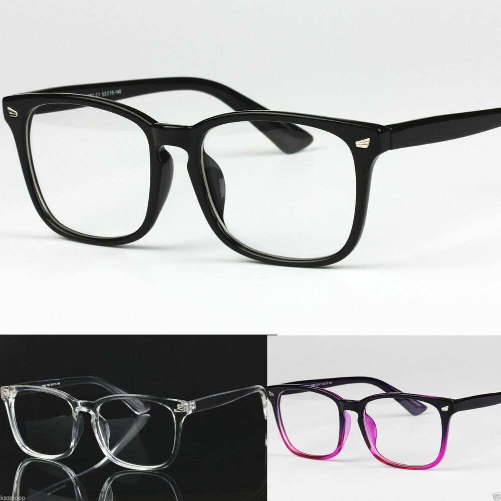 Clear Frame Glasses Boots : Mens Womens Clear Lens Square Frame Vintage Retro Fashion ...