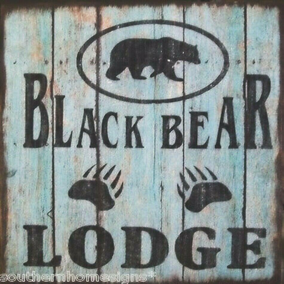 Black bear lodge cabin rustic primitive country distressed for Rustic bear home decor