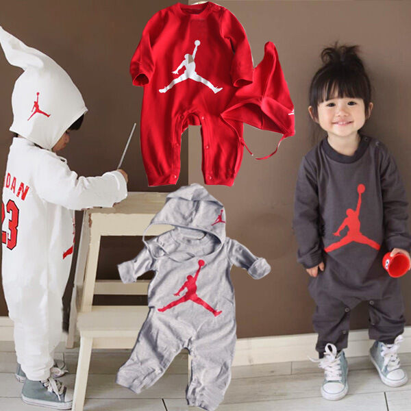 BABY BOYS LONG SLEEVE BASKETBALL JORDAN 23 ROMPER PLAYSUIT OUTFIT SET WITH HAT | eBay