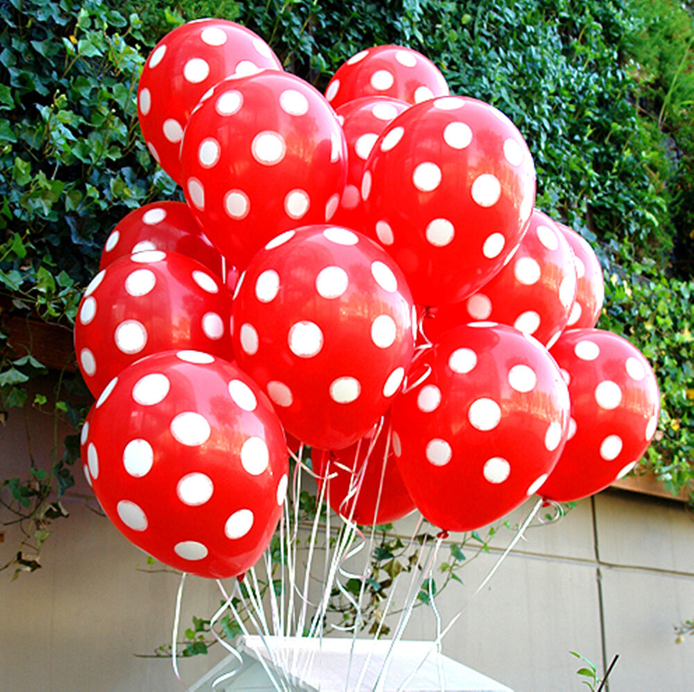 20x mickey mouse red polka dots balloons party supplies for Red and white polka dot decorations