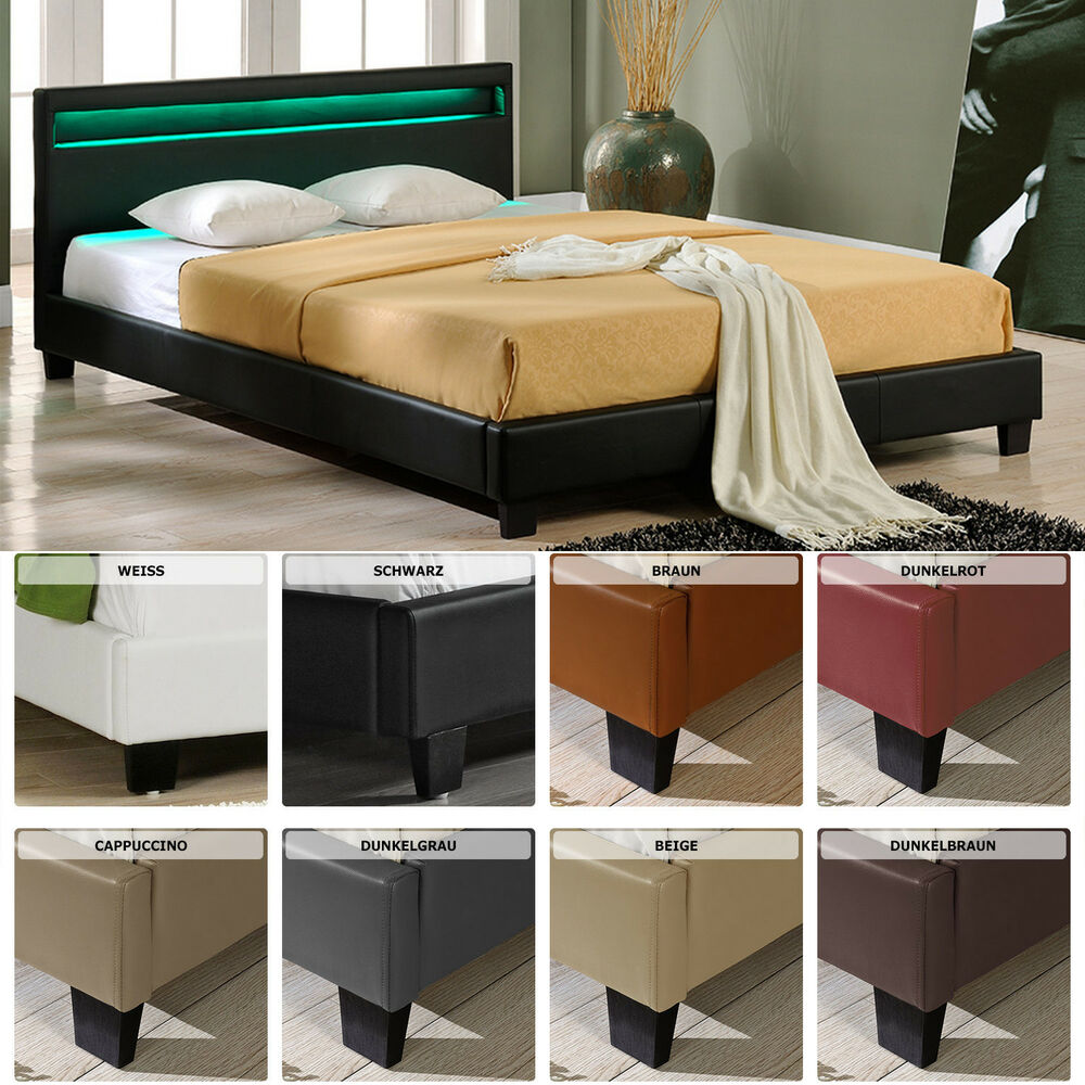 led polsterbett 140 160 180 200 x 200 cm doppelbett ehe bett gestell kunst leder ebay. Black Bedroom Furniture Sets. Home Design Ideas