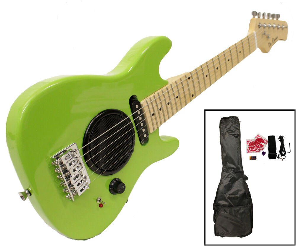 child 39 s toy 30 electric guitar built in amp with case acc kit green ebay. Black Bedroom Furniture Sets. Home Design Ideas
