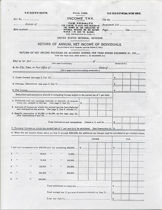 1040 Best Images About Tarot Cards On Pinterest: Copy Of IRS Tax Form 1040 For 1913 Income Tax 4 Pages