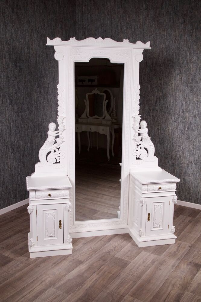 spiegel konsole barock antik wei mahagoni massivholz standspiegel garderobe ebay. Black Bedroom Furniture Sets. Home Design Ideas