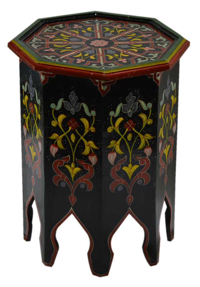 Moroccan wood End Table handmade Middle Eastern Arabesque