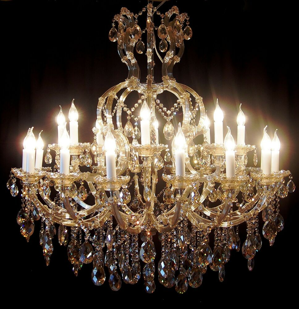 Cognac 24 arms crystal candle chandelier pendant lamp Crystal candle chandelier