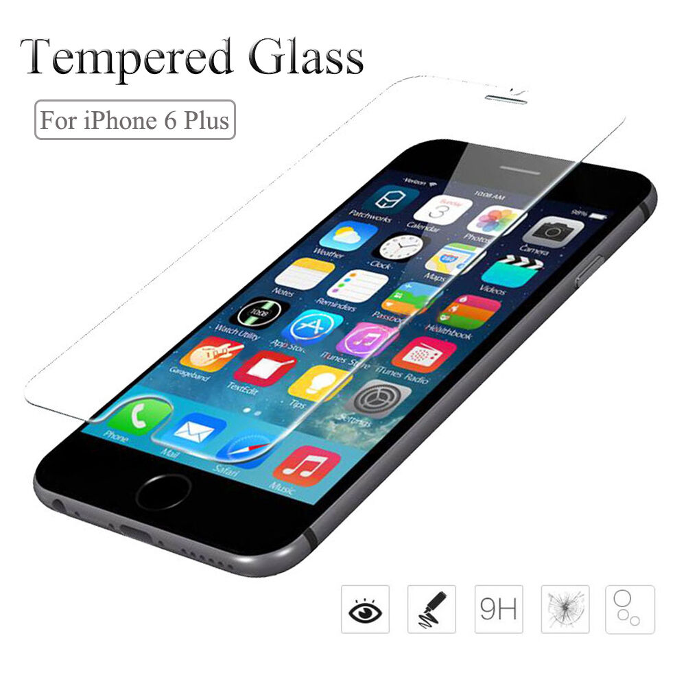 new real premium tempered glass screen protector for apple iphone 6 plus 5 5 39 39 ebay. Black Bedroom Furniture Sets. Home Design Ideas