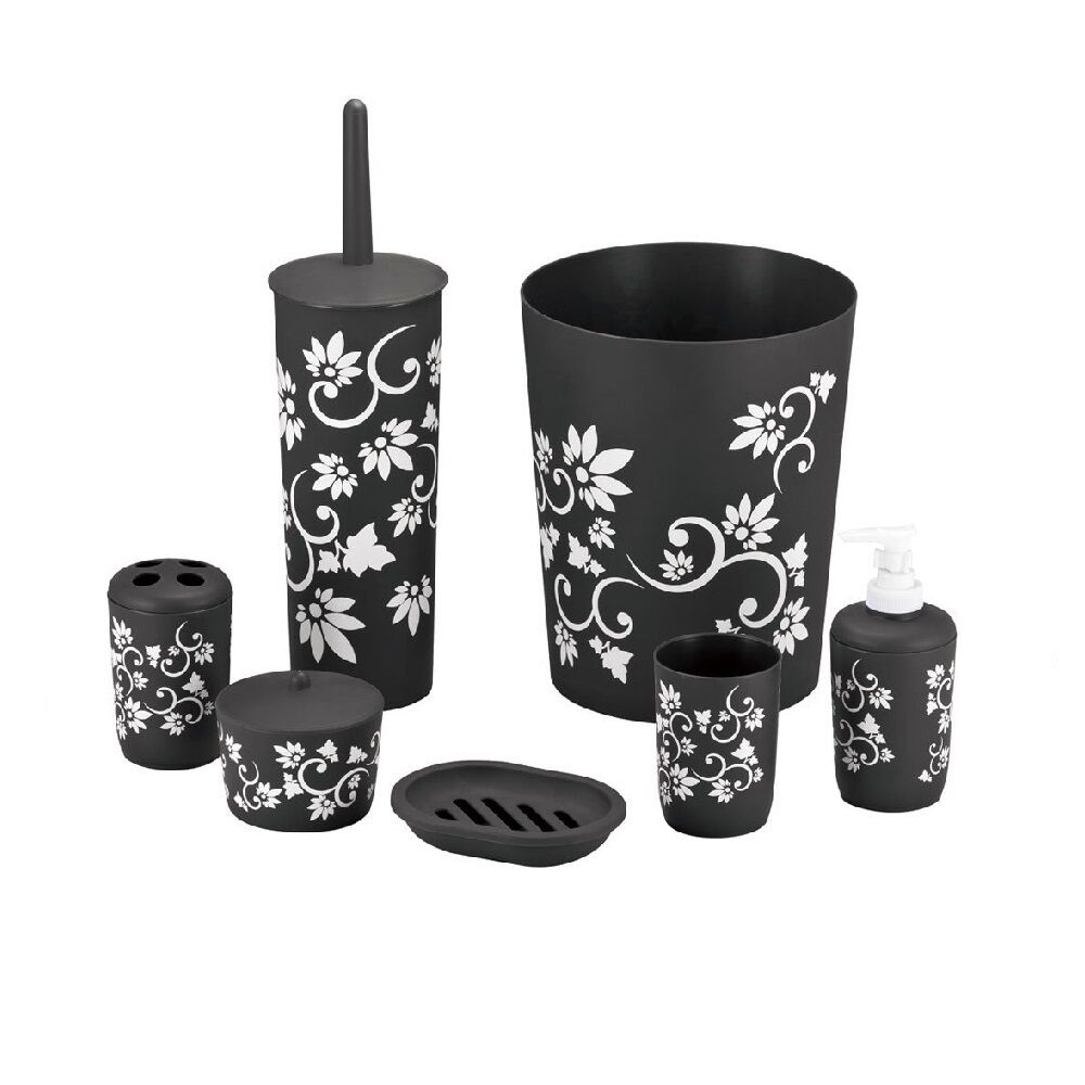 7 piece bathroom accessory set black white floral trash for Black bath accessories sets
