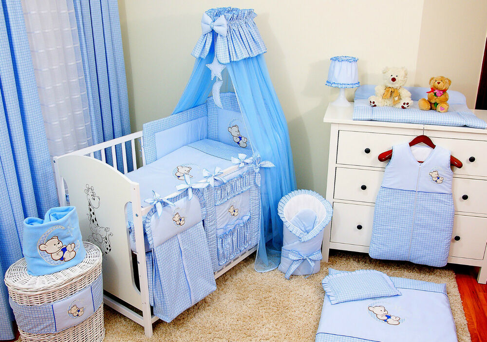 bettset komplett 16 tlg blau babybett kinderbett juniorbett wei 140x70 matratze ebay. Black Bedroom Furniture Sets. Home Design Ideas
