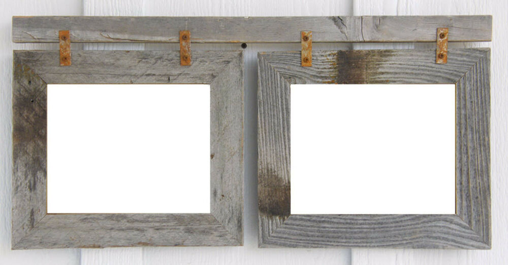 double 8x10 weathered rustic reclaimed 2 barn wood picture photo frame ebay - Double 8x10 Frame
