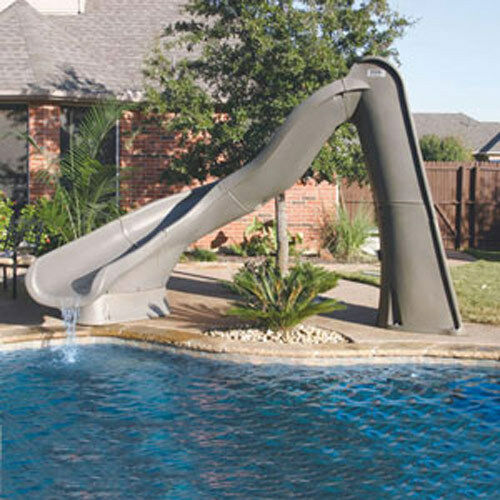 Sr smith sandstone left turn turbo twister swimming pool for Swimming pool slides
