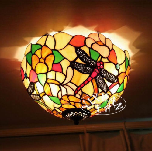 tiffany style dragonfly stained glass ceiling lamp flush. Black Bedroom Furniture Sets. Home Design Ideas