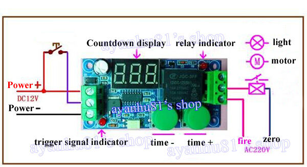 12V Digital Timing Delay Time Timer ONOFF Module External