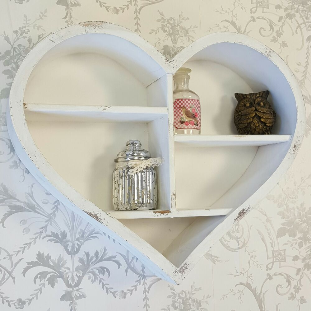 shabby chic vintage style white wooden heart wall display cabinet shelf unit ebay. Black Bedroom Furniture Sets. Home Design Ideas