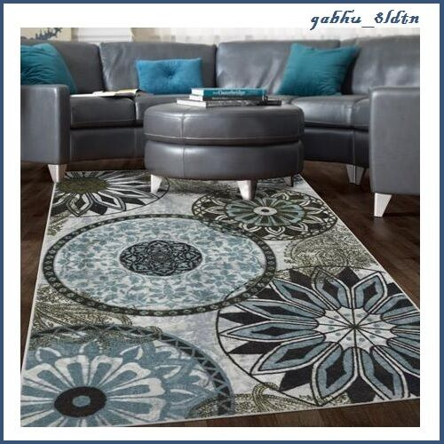 New Contemporary Medallion Area Rug Carpet Blue Navy Brown