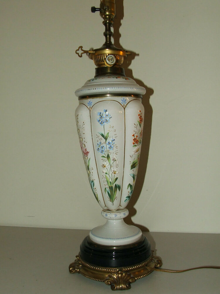 Antique Elegant Victorian Bohemian Art Glass Hand Painted