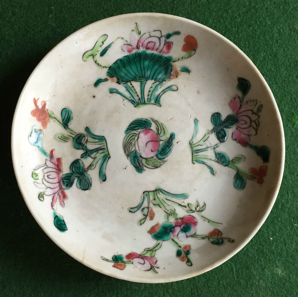 Chinese Porcelain Plates : Antique chinese porcelain plate famille rose peach fruit