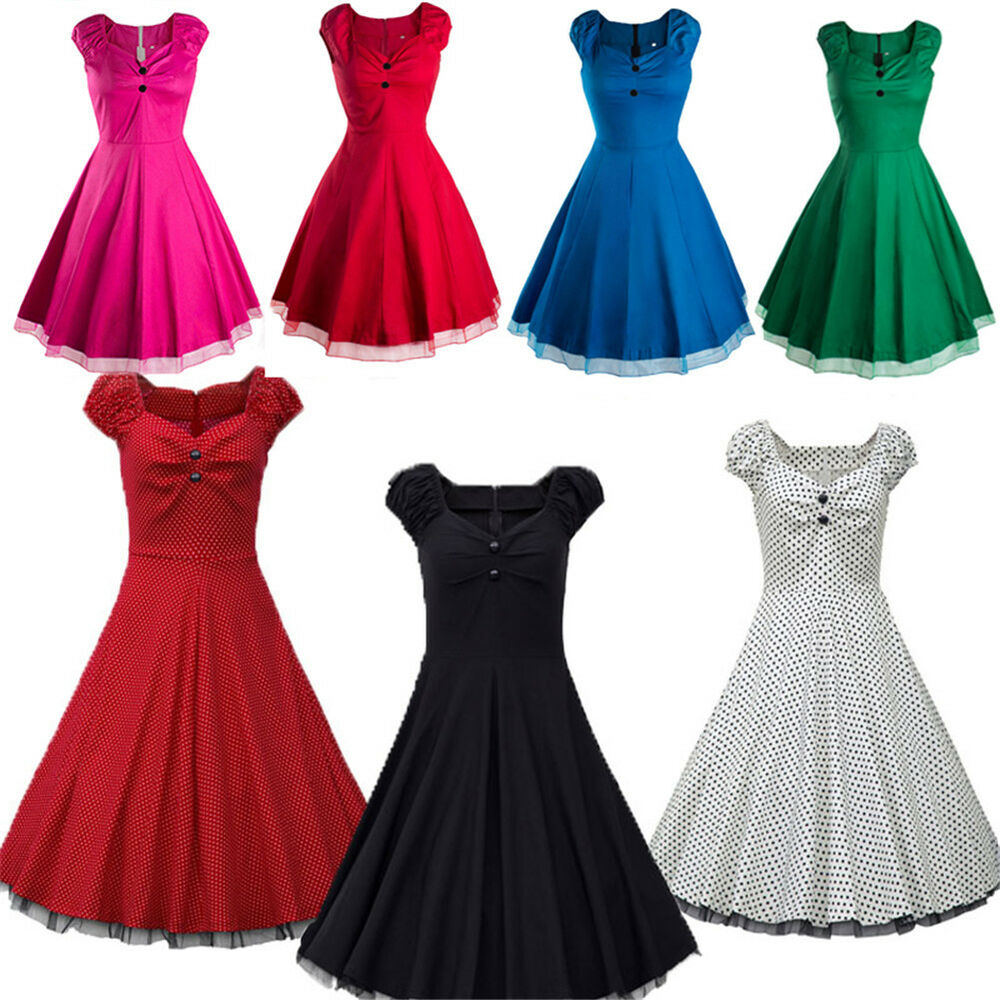 vintage style swing 1950 39 s 1960 39 s housewife retro pinup rockabilly evening dress ebay. Black Bedroom Furniture Sets. Home Design Ideas