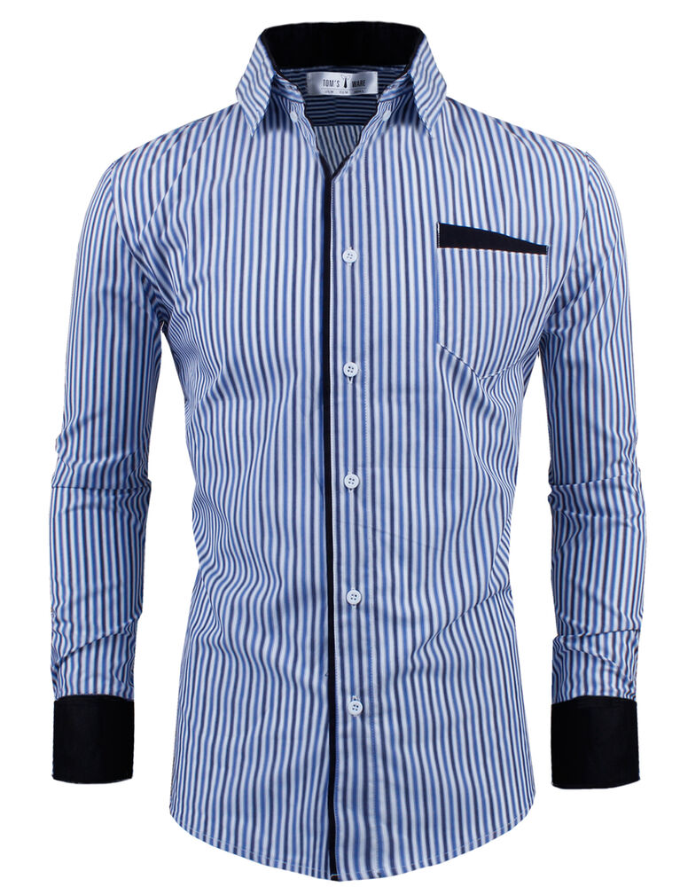 Tom 39 s ware mens classic slim fit vertical striped for Tom s ware mens premium casual inner contrast dress shirt