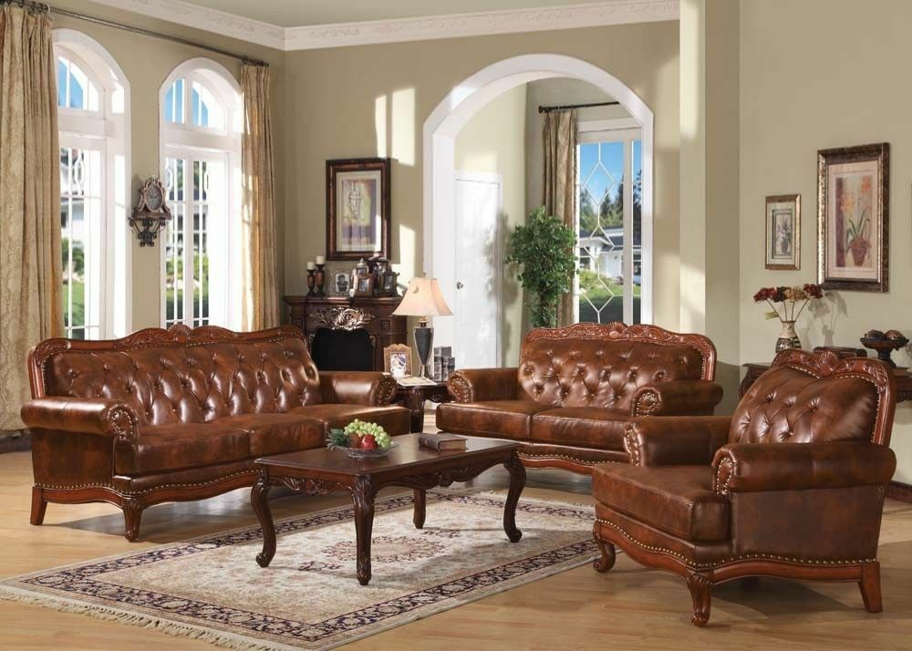 Traditional formal 2pc sofa set living room top grain for Traditional leather furniture