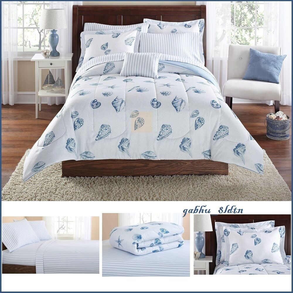 Nautical Bedding King: Nautical Comforter Set Queen King Size Sea Shell Coastal