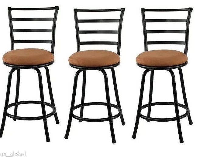 Barstool Counter Seat Height High Chair Swivel Metal Bar Stools 3 Piece Black Ebay