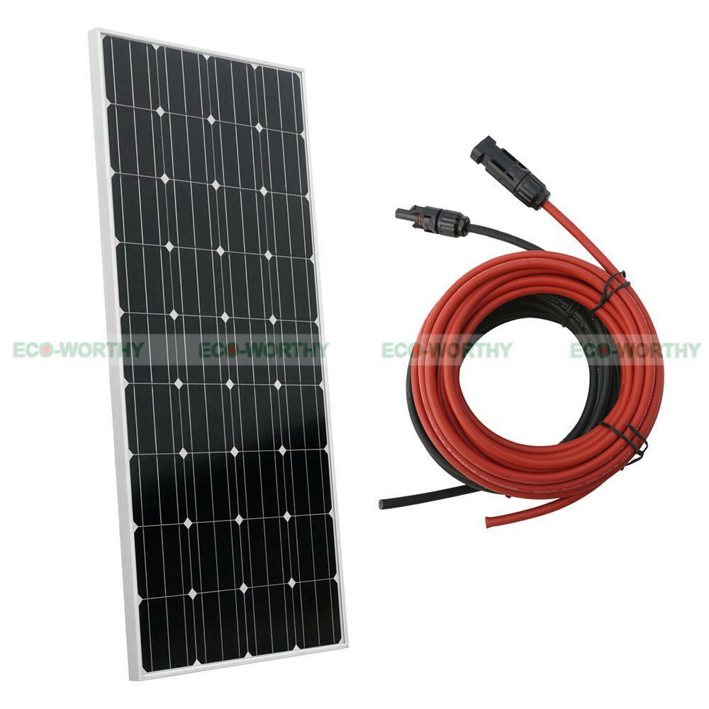 160w Watt 12v Mono Solar Panel Kit With Extension Pv Cable