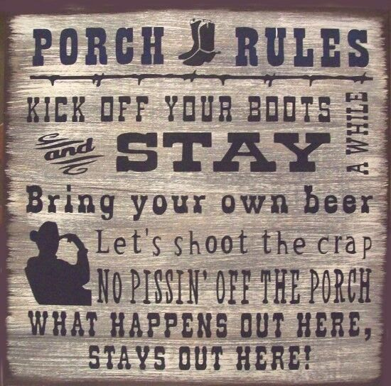 Western Porch Rules Rustic Primitive Country Wood Sign Home Decor Ebay