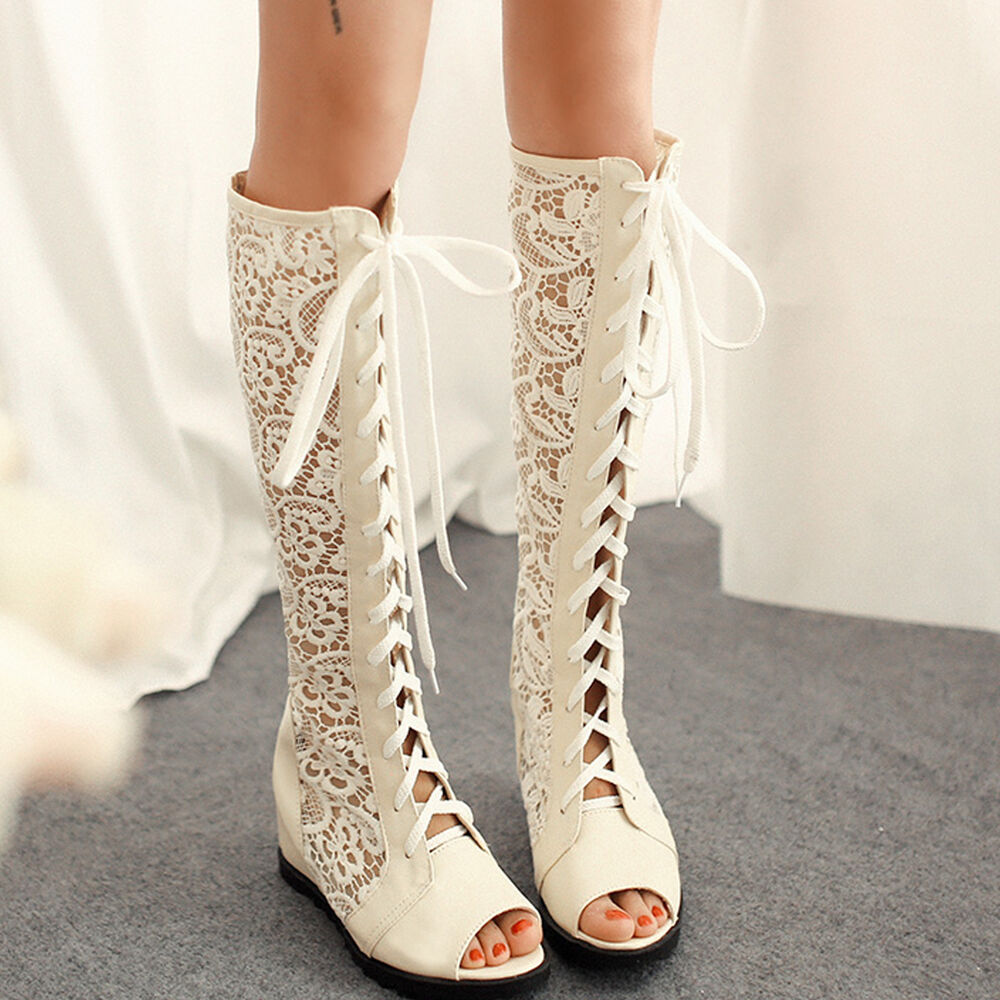 Summer Fashion Sandals Mid Calf Boots Lace up Leisure Peep ...