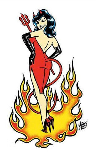 Sexy Devil Girl In A Red Dress Pin Up Babe R C Vinyl