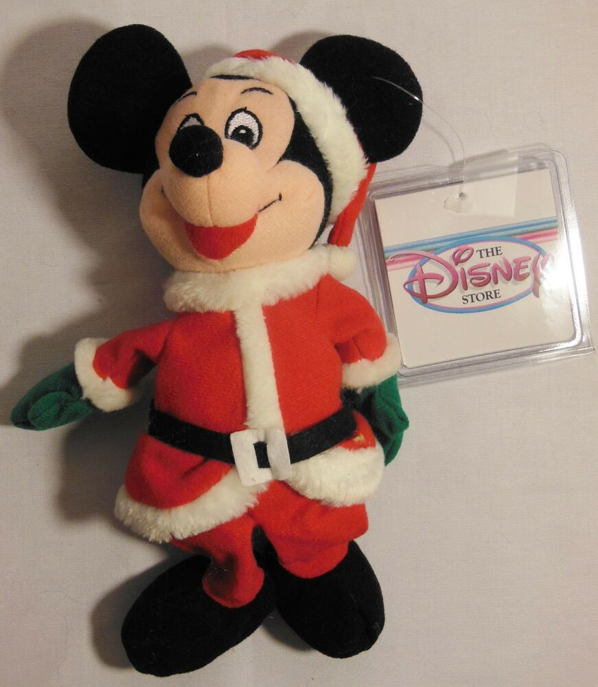 Mickey mouse santa mini bean bag 8 in plush christmas disney store w container ebay - Disney store mickey mouse ...