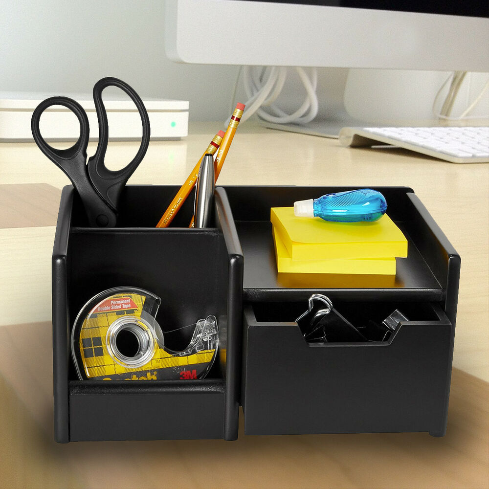 Rolodex Black Wireless Desktop Electronics Organizer Wood
