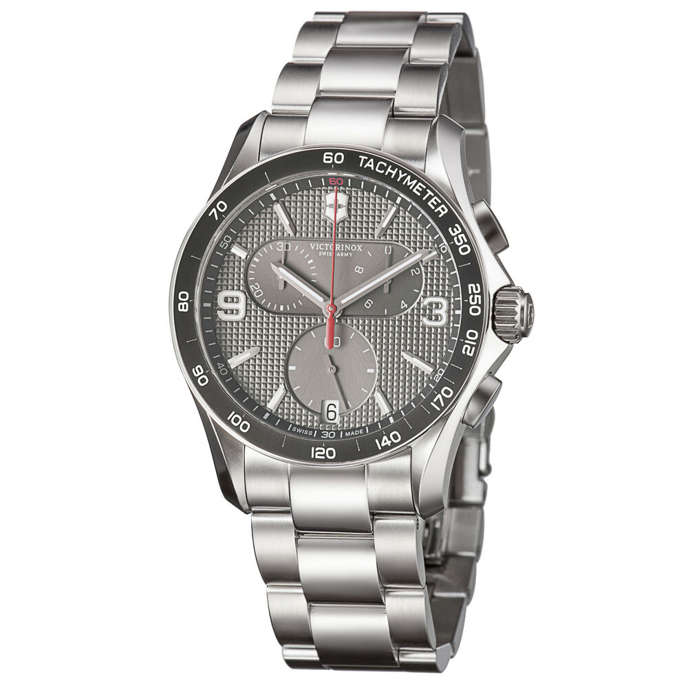 Victorinox swiss army men 39 s chrono classic stainless steel quartz watch 241656 ebay for Victorinox watches