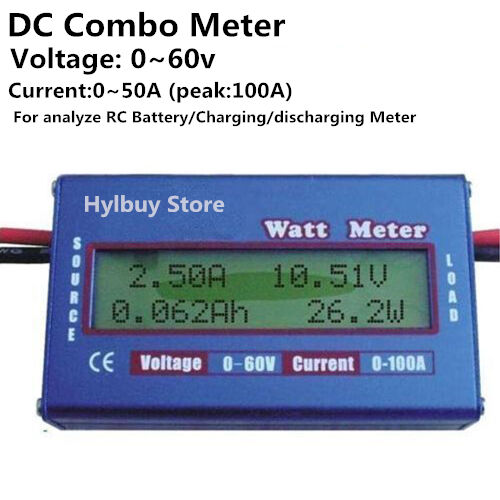 Charger Watt Meter: Digital DC Combo Meter LCD Watt Power Volt Amp RC Battery