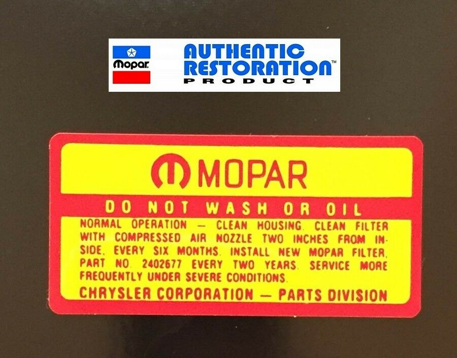 1964 65 66 67 68 1969 Air Cleaner Service Decal Mopar