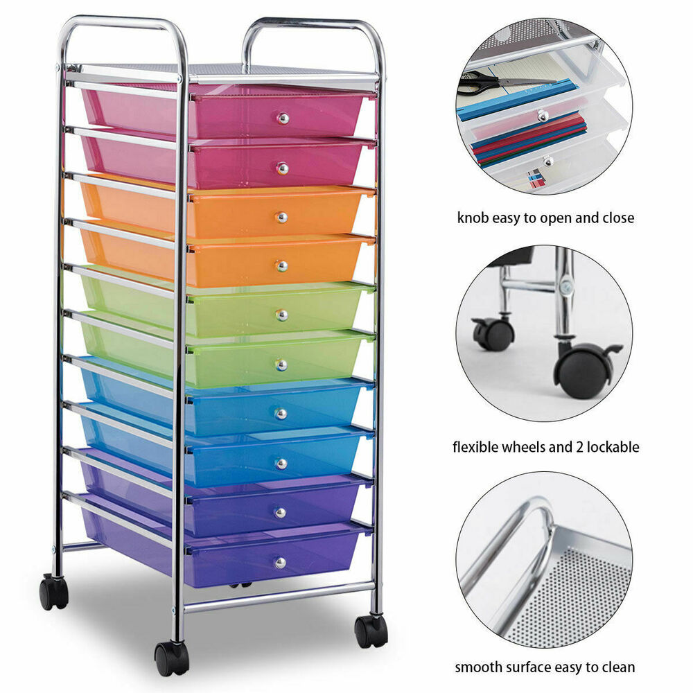 Rolling craft cart with drawers - 10 Drawer Rolling Storage Cart Scrapbook Paper Office School Organizer Rainbow