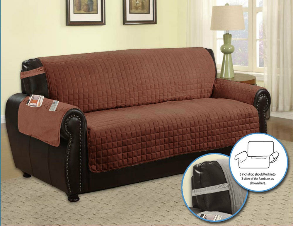 Microfiber furniture protector with side pocket and straps for Furniture covers with straps