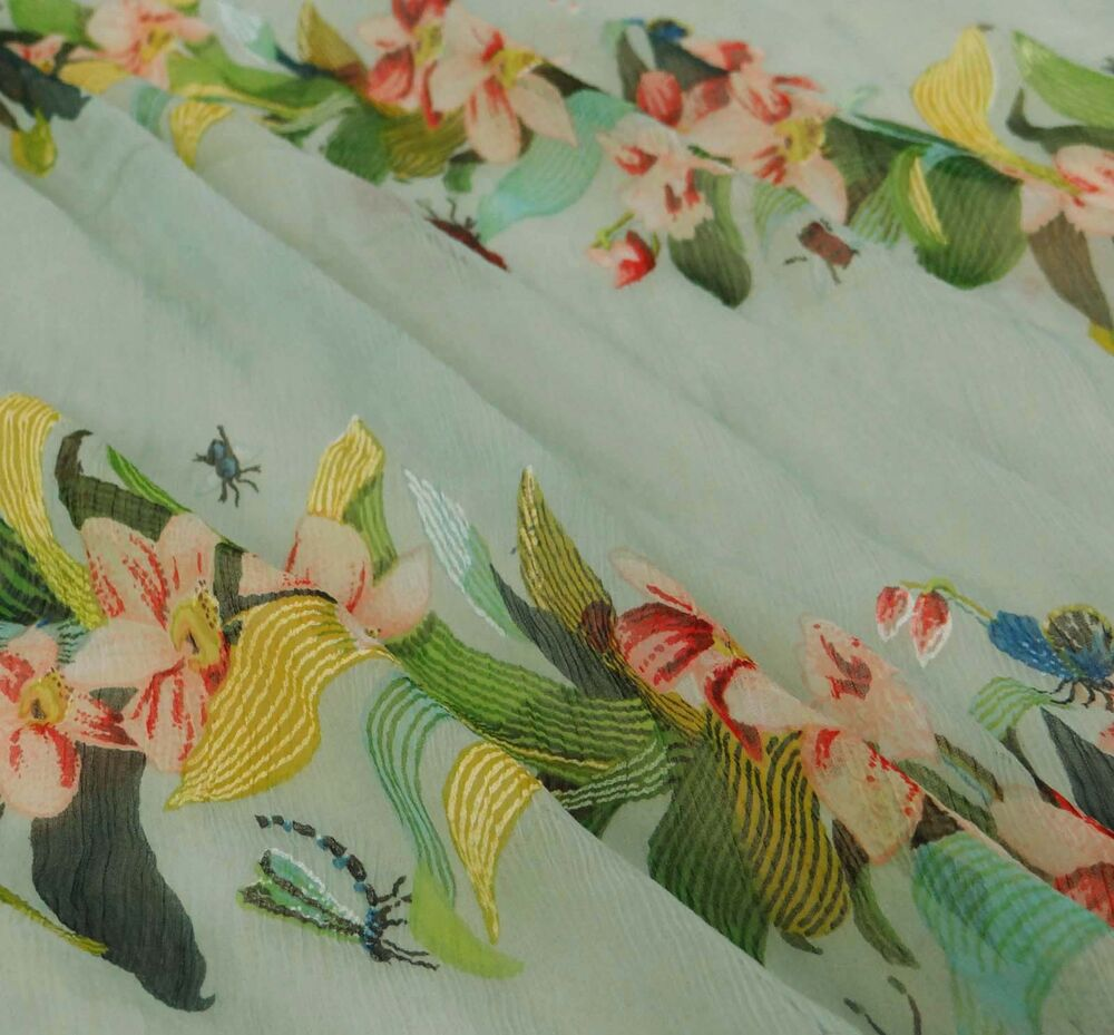 Floral printed green chiffon designer sheer light weight for Designer fabric by the yard