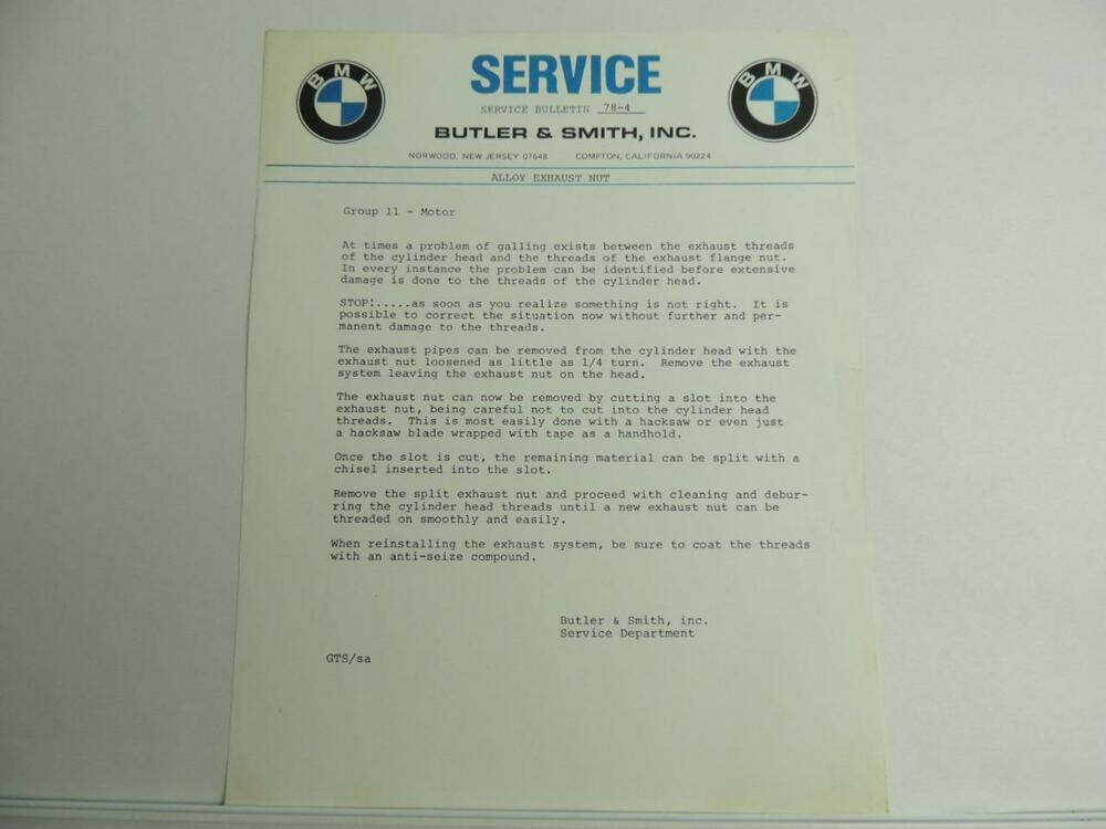 vintage 1979 bmw motorcycle dealer service bulletin butler and
