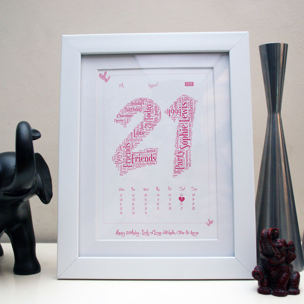 PERSONALISED 1st 18th 21st 30th 40th 50th WORD ART PRINT